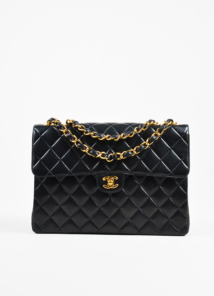 "Chanel Black and Gold Toned Lambskin Quilted 'CC' Turnlock ""Jumbo Flap"" Bag frontview"