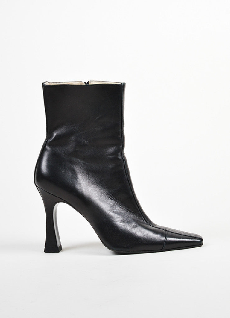 Black Chanel Leather Pointed Toe High Heeled Ankle Boots Sideview