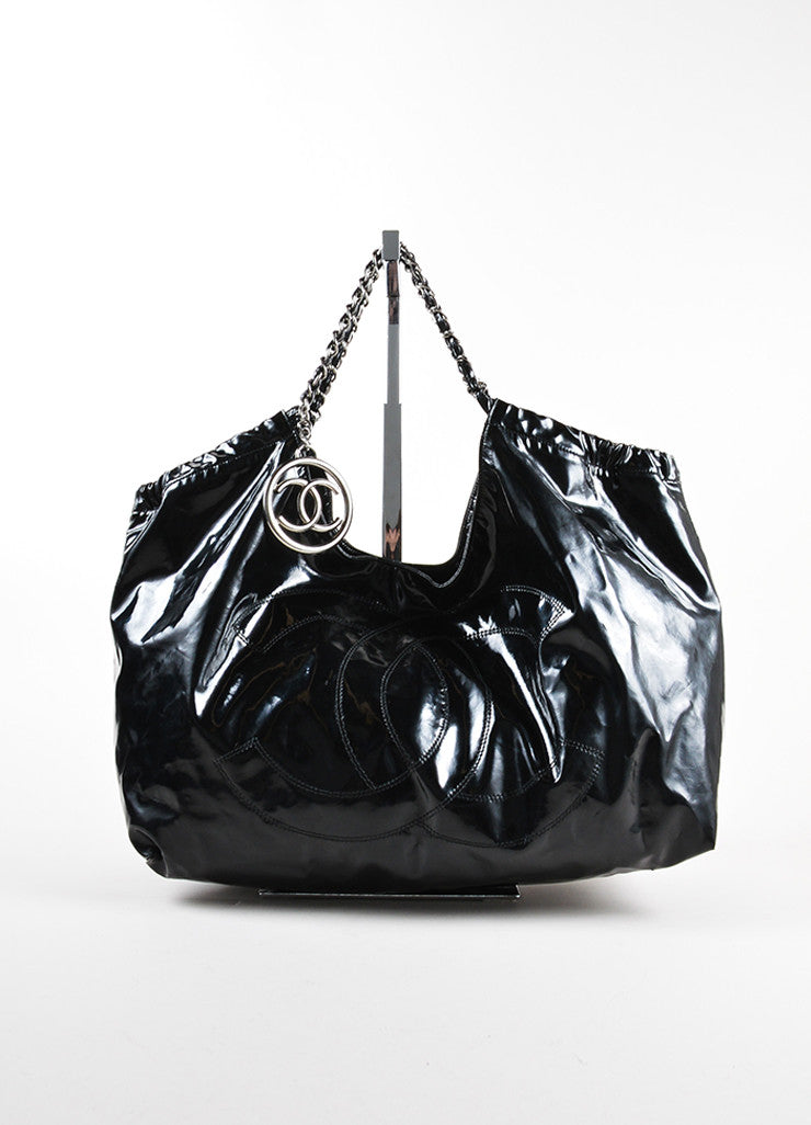 "Chanel Black Patent Vinyl CC ""Coco Cabas Jumbo XL"" Chain Strap Shoulder Bag Frontview"