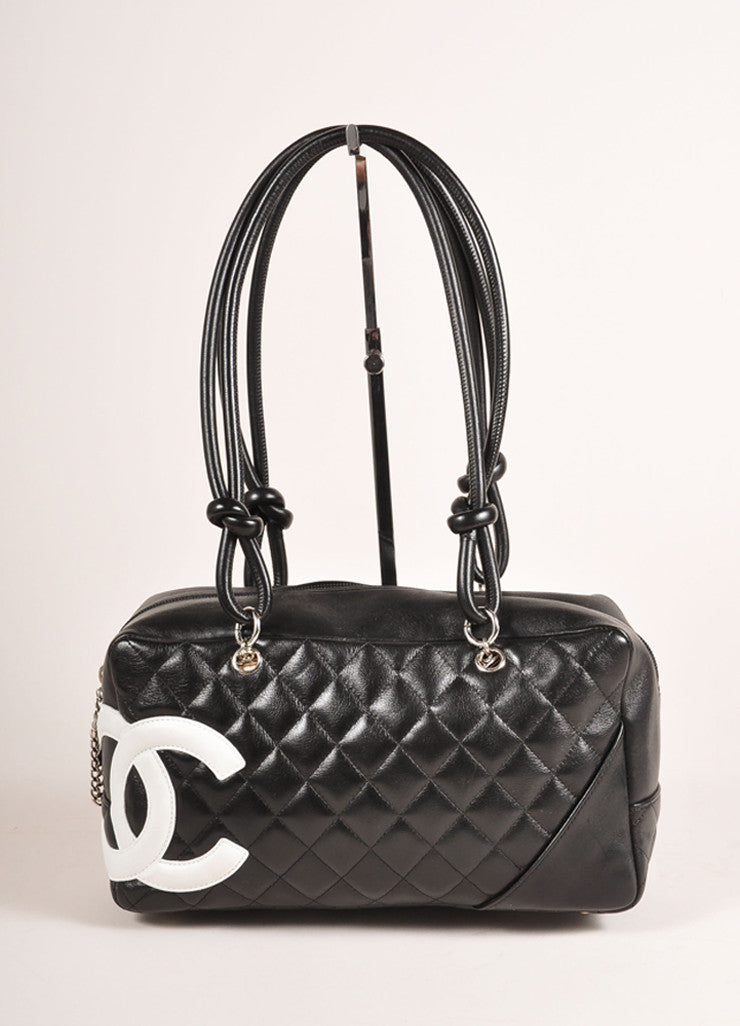 "Chanel Black and White Quilted Leather ""Cambon Ligne Bowler"" Shoulder Bag Frontview"