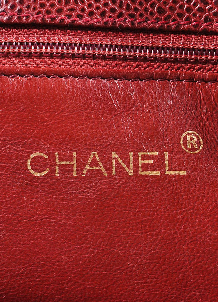 Chanel Burgundy Red and Gold Toned Caviar Leather Quilted Classic Flap Bag Brand