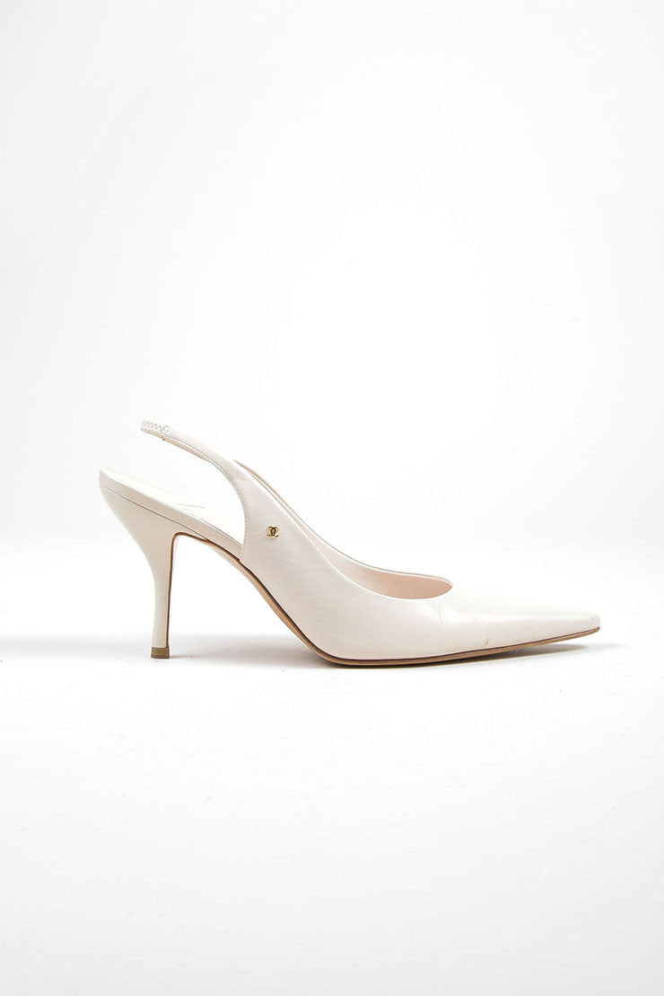 Cream Chanel Leather Pointed Toe 'CC' Slingback Pumps Sideview