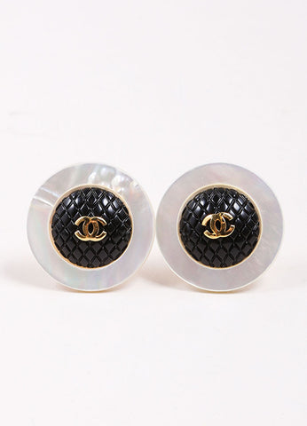 "Chanel Gold Toned Black Quilted Faux Mother of Pearl ""CC"" Round Earrings Frontview"