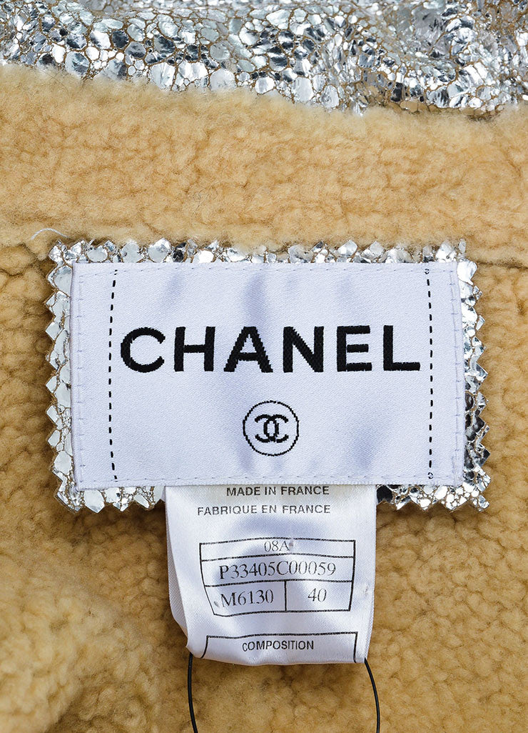 Metallic Silver Lambskin Leather Shearling Pocket Chanel Vest Brand