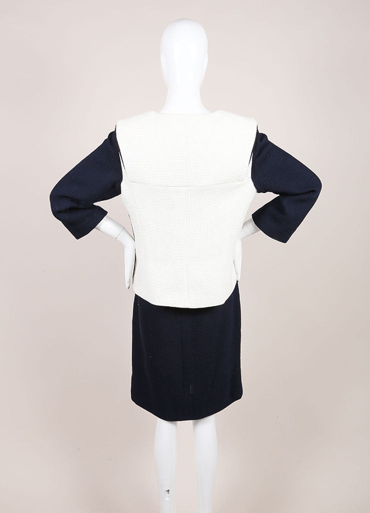 Chanel Navy and Cream Woven Color Block Crop Sleeve Jacket and Pencil Skirt Suit Backview
