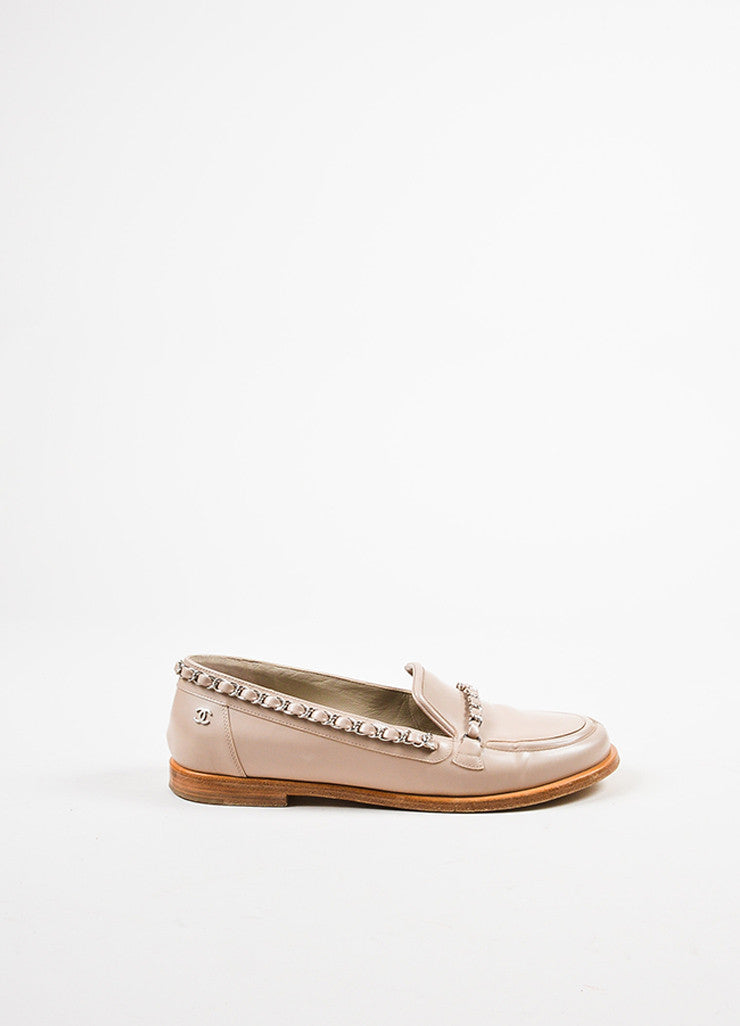 Chanel Pale Pink, Tan, and Silver Toned Leather Chain Trim Loafers Sideview