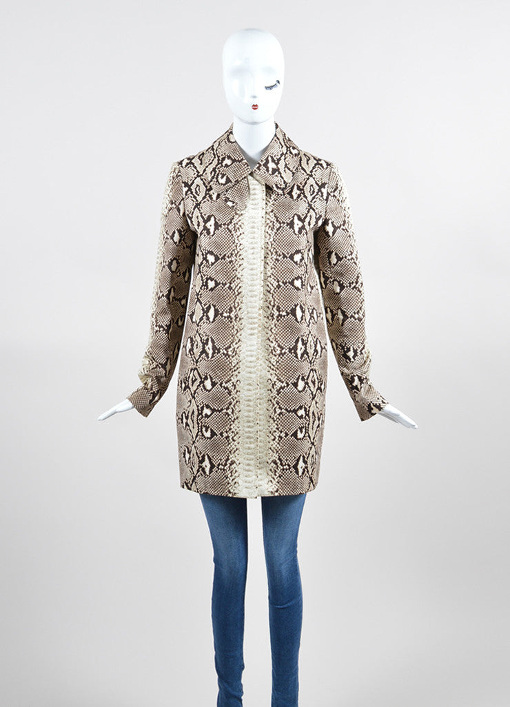 Brown and Beige Chloe Snakeskin Print Cotton Coat Frontview 2
