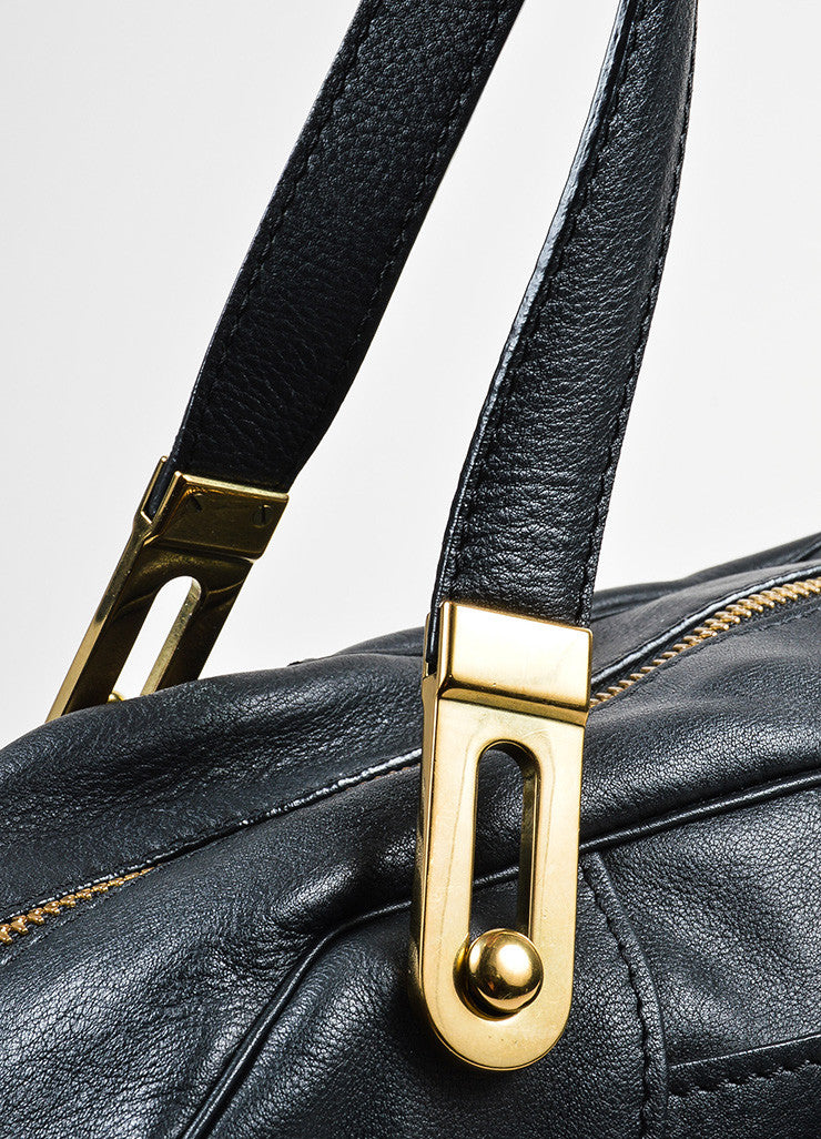 Black Chloe Leather Stitched Toggle Handle Shoulder Satchel Bag Detail 2