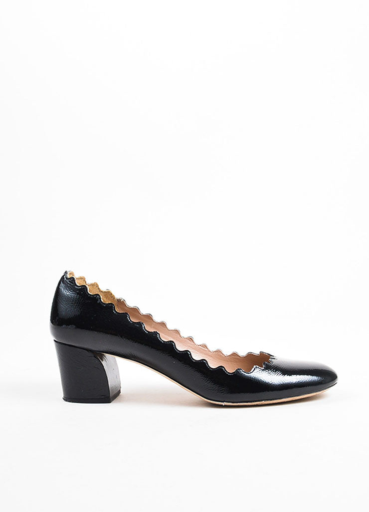 "Chloe Black Patent Leather ""Lauren"" Scalloped Edge Chunky Heel Pumps Sideview"