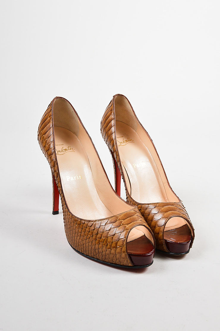 "Christian Louboutin Brown Python ""Very Prive"" Peep Toe Platform Pumps Frontview"