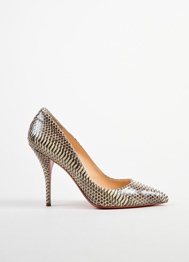 "Christian Louboutin Cream and Taupe Python ""Batignolles 100"" Point Pumps Sideview"