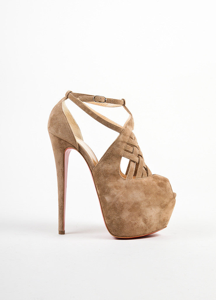 Beige Christian Louboutin Suede Strappy Carlota Pumps Side