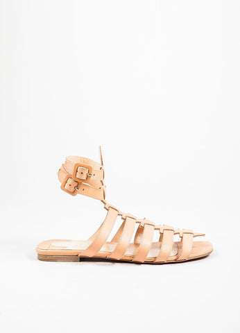 "Nude Christian Louboutin Leather Gladiator ""Neronna"" Flat Sandals Sideview"
