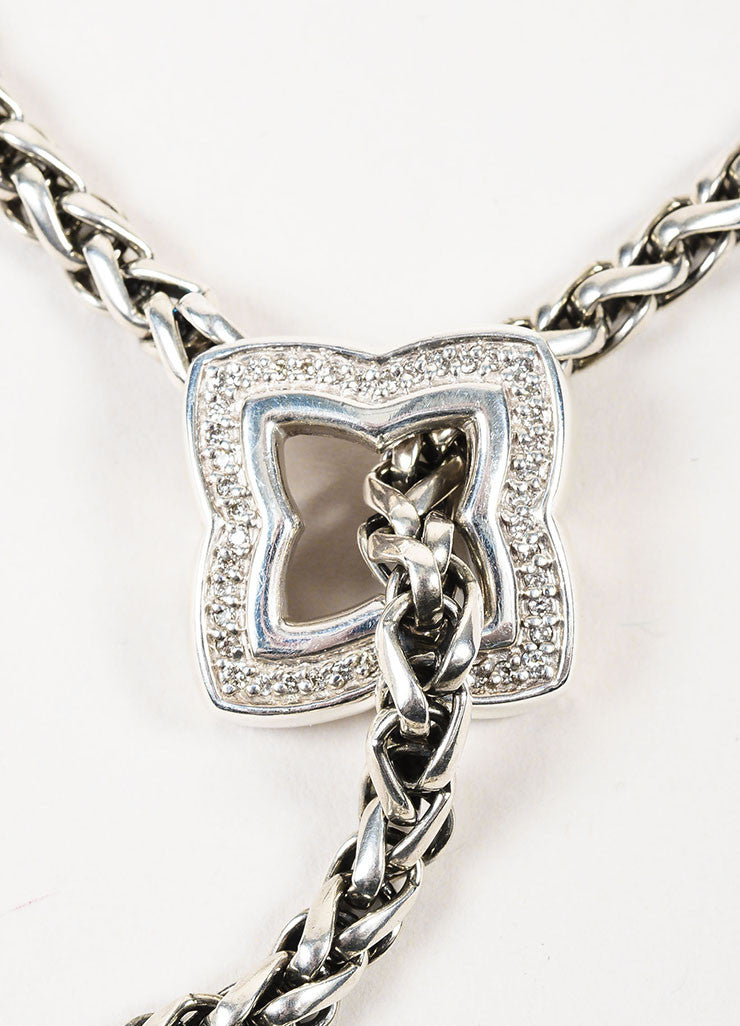 David Yurman Sterling Silver Diamond Quatrefoil Lariat Chain Necklace Detail 2