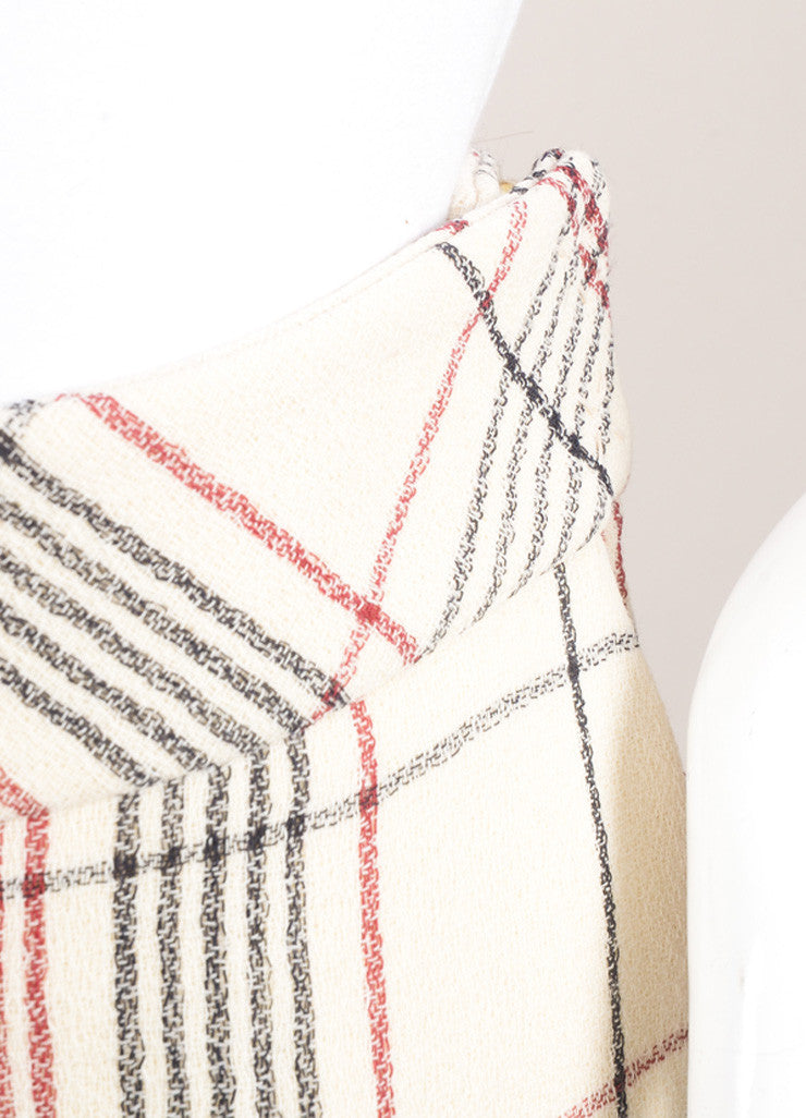 Delpozo New With Tags Cream, Red, and Black Wool Plaid Ultra Wide Leg Trousers Detail