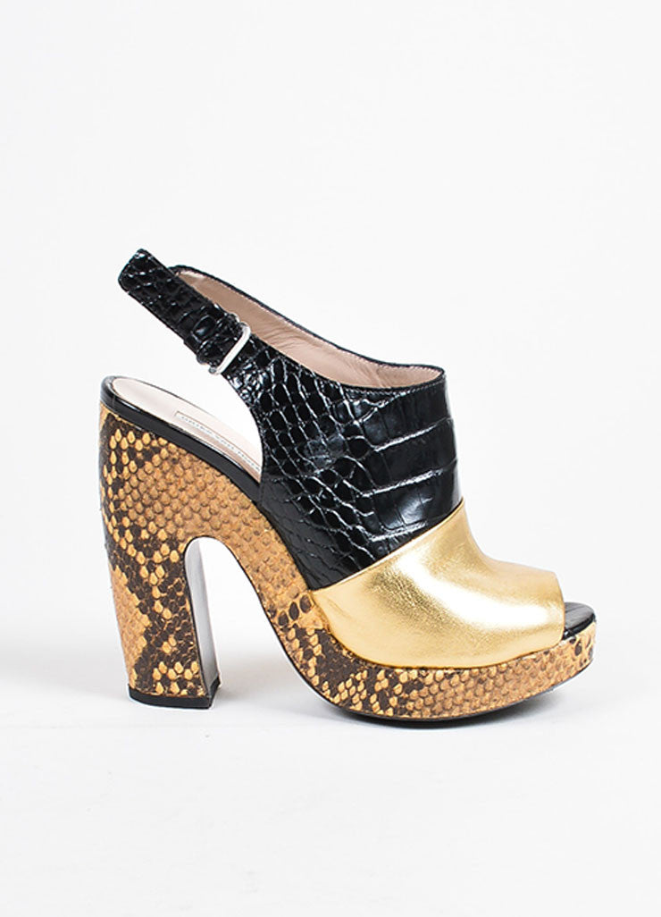 Dries Van Noten Gold and Black Leather Snake Croc Embossed Platform Heels Sideview