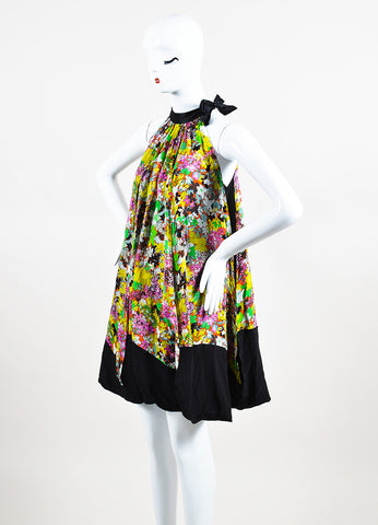 Black and Multicolor Etro Silk Floral Print Tie Neck Sleeveless Trapeze Dress Sideview