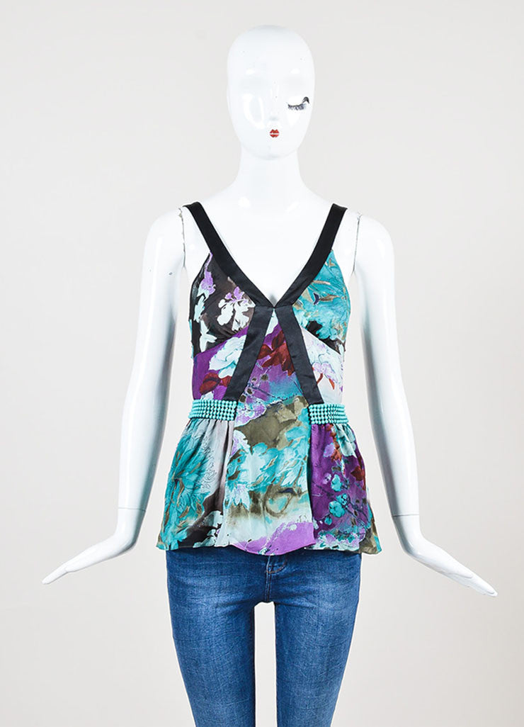 Black Purple Turquoise Etro Silk Floral Print V Neck Sleeveless Top