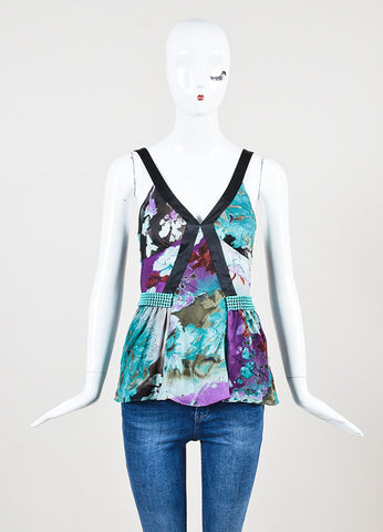 Black Purple Turquoise Etro Silk Floral Print V Neck Sleeveless Top Front
