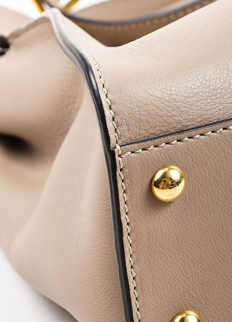 "Fendi Taupe Brown Leather Tortoiseshell Gold Toned ""Peekaboo"" Satchel Bag Detail"