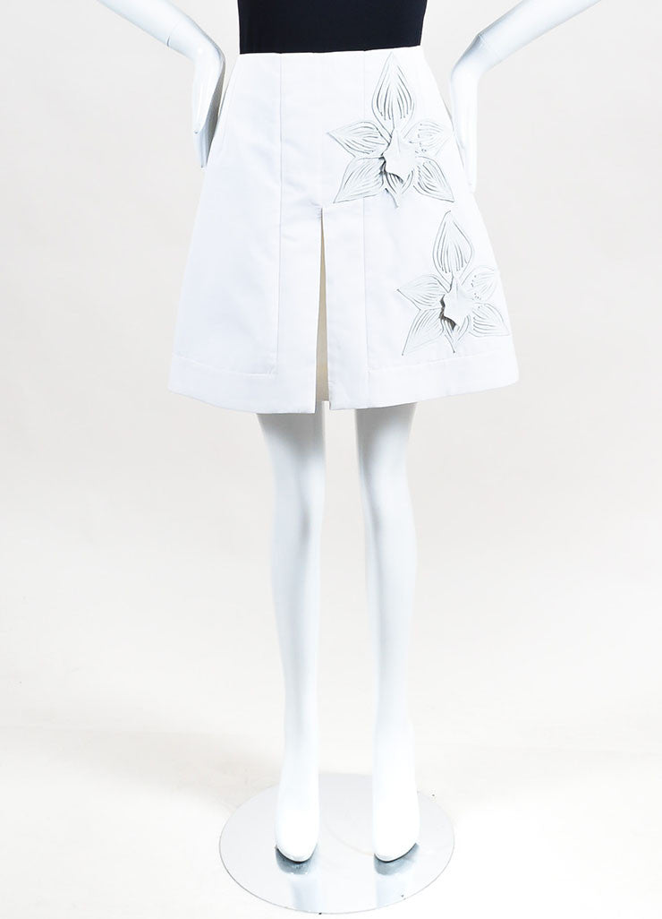 Fendi White Cotton and Leather Flower Embellished Mini Skirt Frontview