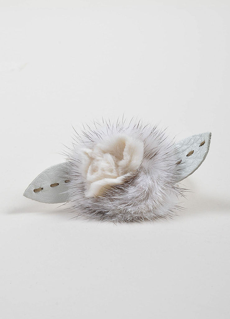 White Fendi Leather and Mink Fur Flower Wrap Bracelet Frontview