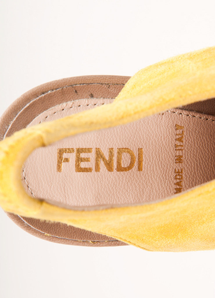 Fendi Yellow and Tan Suede Leather Cut Out Platform Sandals Brand