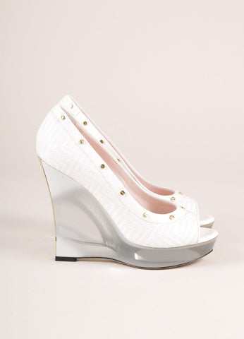 Gianni Versace White Patent Leather Studded Lucite Wedges Sideview