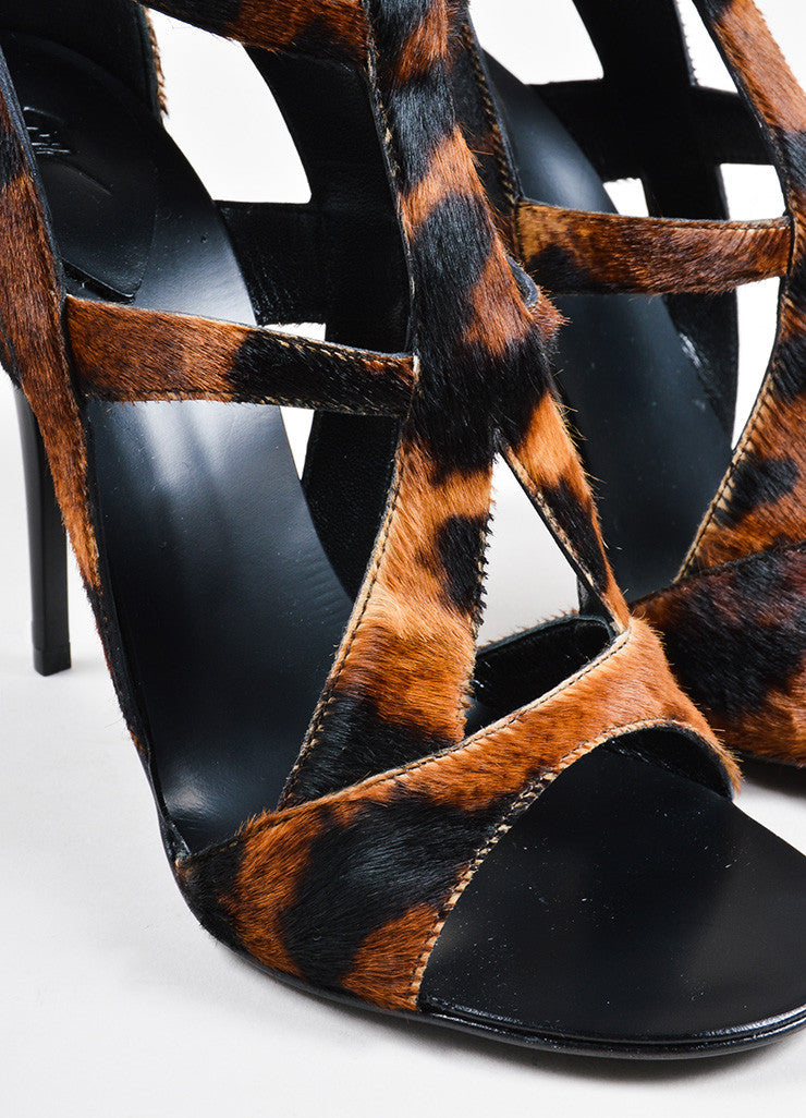 Giuseppe Zanotti Brown Pony Hair Leopard Print Strappy Heeled Sandals Detail