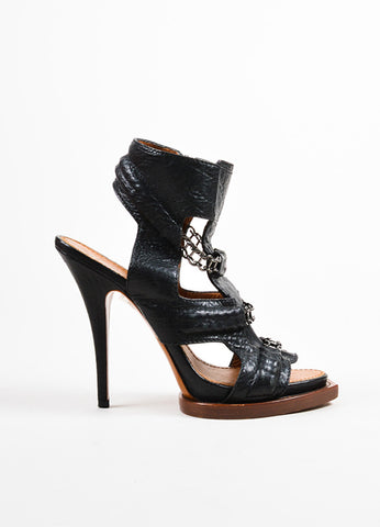 Black Givenchy Leather Chain Link High Heel Gladiator Sandals Sideview