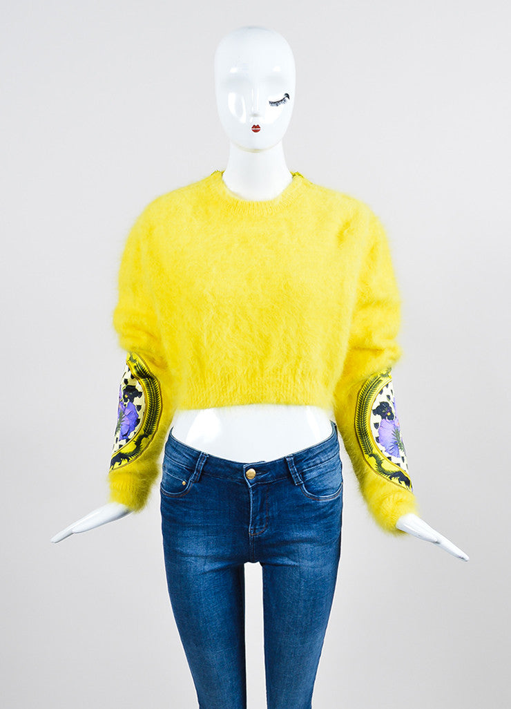 Yellow Givenchy Angora Floral Patch Fuzzy Long Sleeve Crop Sweater Frontview