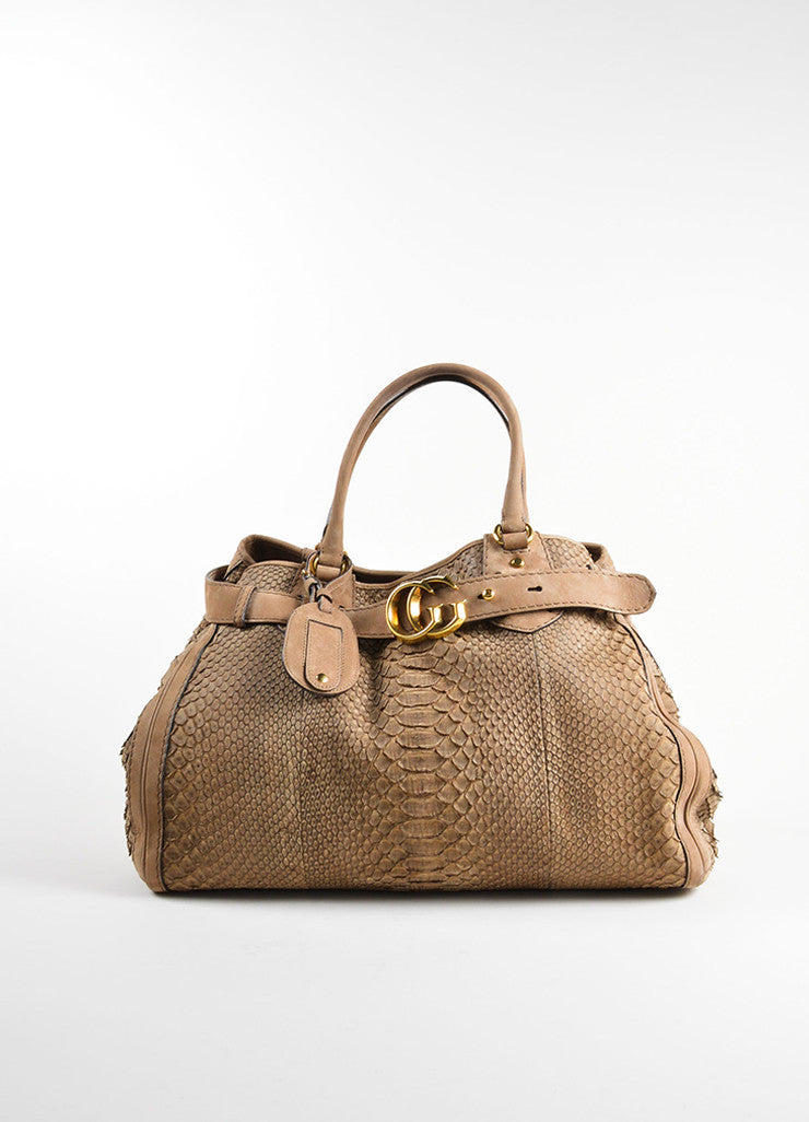 "Gucci Light Brown Suede Leather Python Effect ""GG Running"" Tote Bag Frontview"