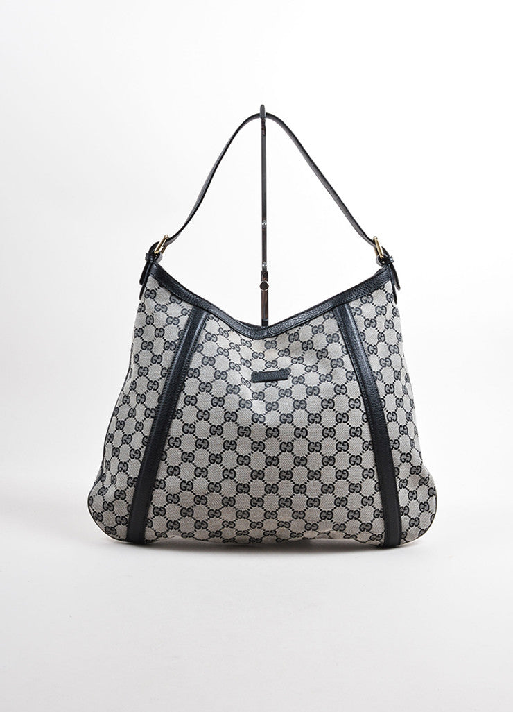 "Gucci Black ""GG"" Monogram Canvas Hobo Bag Frontview"