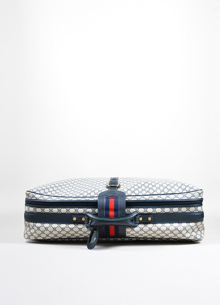 Blue, Cream, and Red Gucci Coated Canvas and Leather 'GG' Monogram Luggage Bag Topview