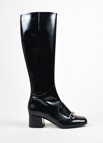 "Black Gucci Patent Leather ""Regent"" Square Toe Knee High Boots Side"