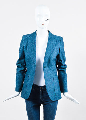 Blue Gucci Wool Speckled Blazer Jacket Frontview