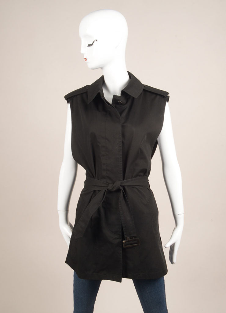 Hermes Black Canvas Belted Convertible Long Sleeve Jacket Vest Frontview 2