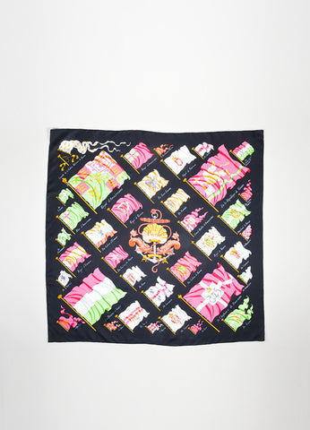 "Black, Pink, and Green Hermes Silk ""Pavois"" Printed 90cm Scarf Frontview"