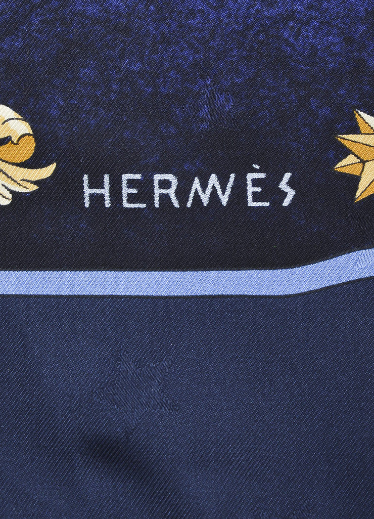 "Hermes Blue, White, and Tan Silk Mystical Horse Sky Print ""Cosmos"" 90cm Scarf brand"