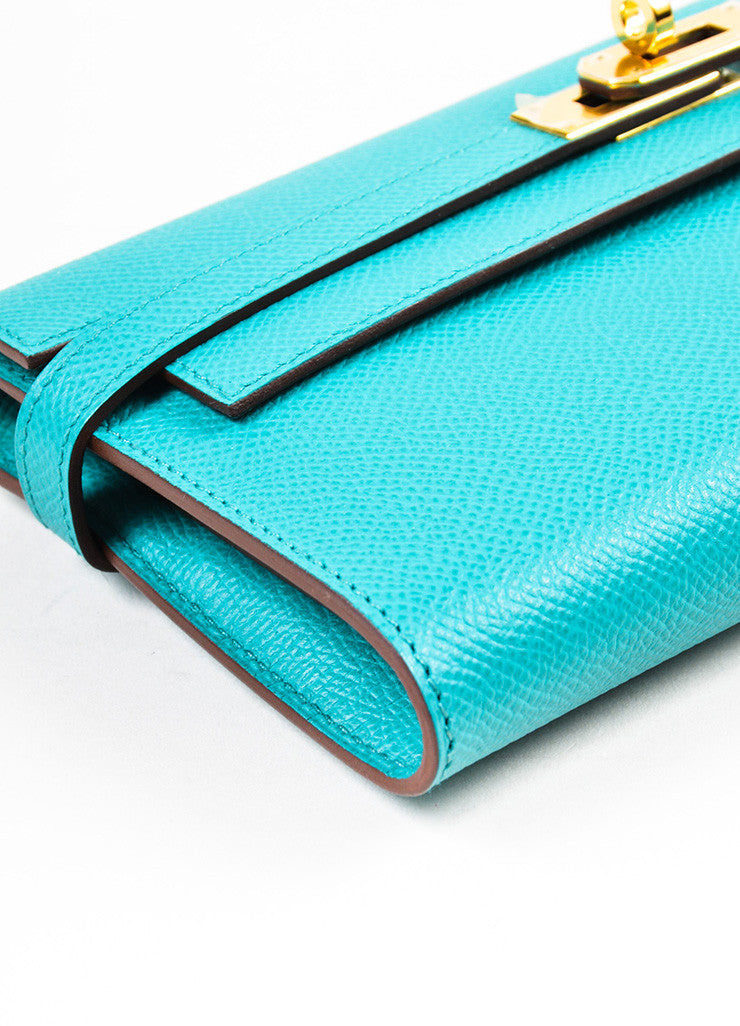 "Hermes Bleu Paon Teal Epsom Leather ""Kelly"" Long Money Holder Wallet Detail"