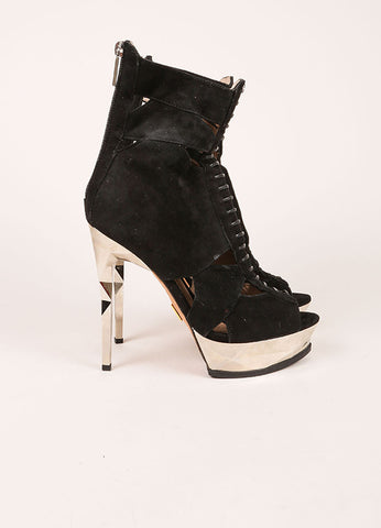 "Herve Leger Black and Silver Suede Leather Platform ""Kalina"" Ankle Boots Sideview"
