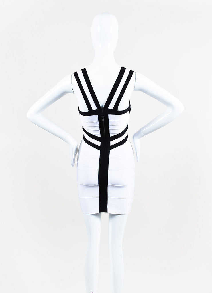 Herve Leger Black and White Striped Bodycon Bandage Dress Backview