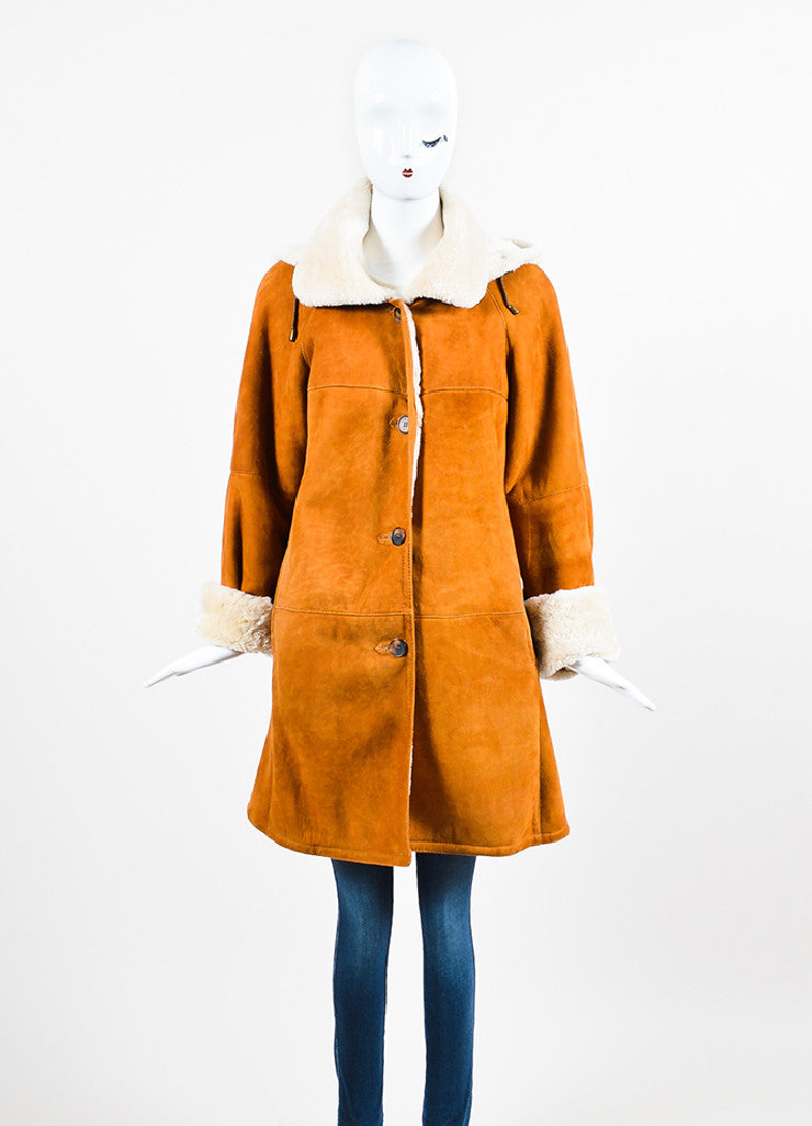 Hide Society Tan and Beige Suede and Shearling Hooded Coat Frontview 2