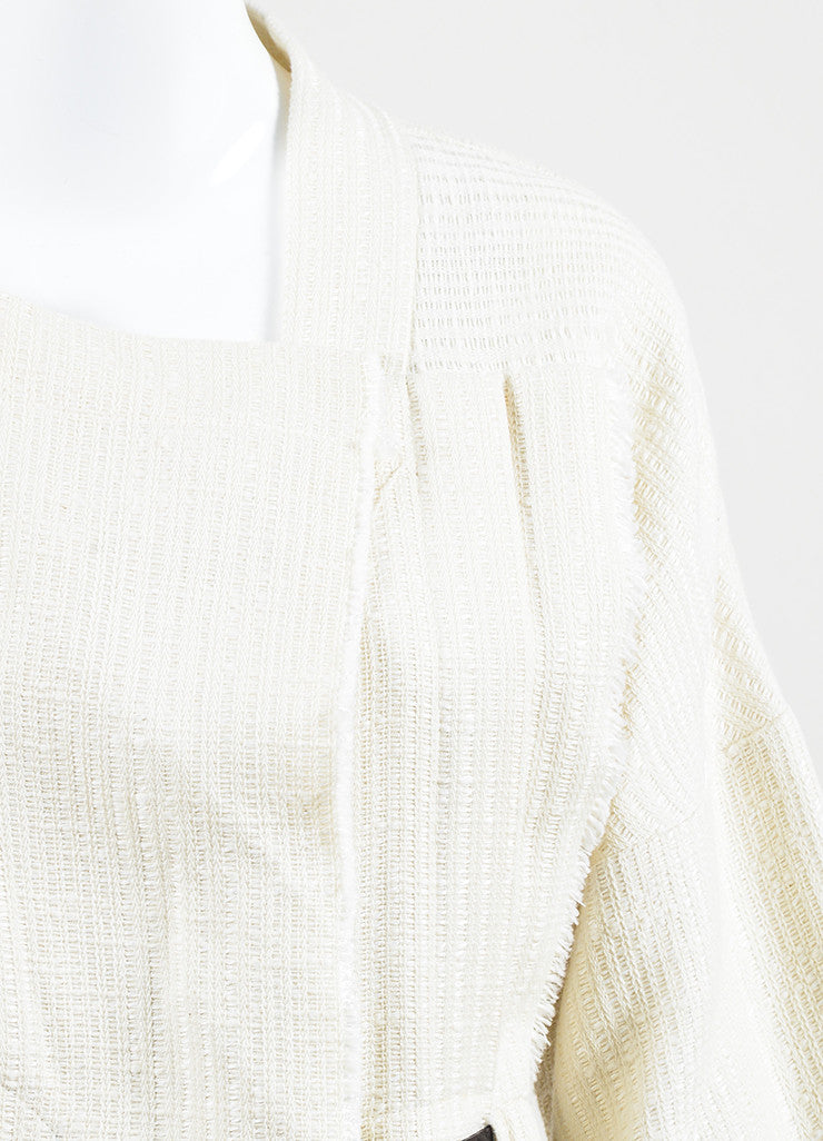 "IRO Cream Linen Blend Textured Leather Tie Belted ""Ambar"" Jacket Detail"