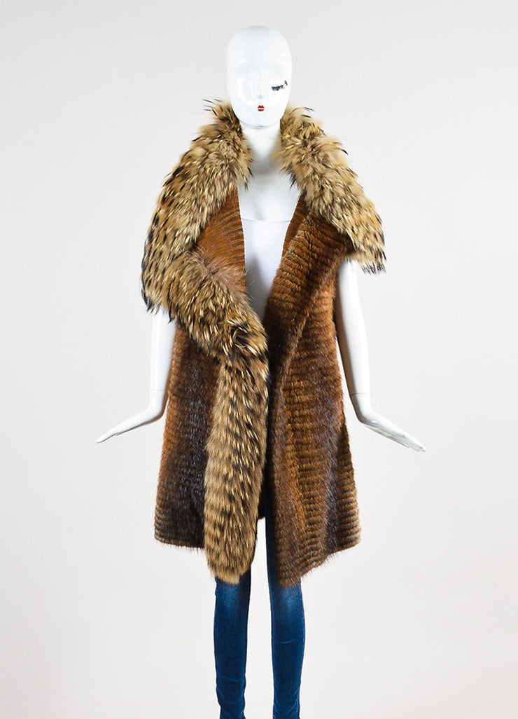 J. Mendel Brown, Beige, and Black Muskrat and Raccoon Fur Striped Knee Length Shawl Vest Frontview