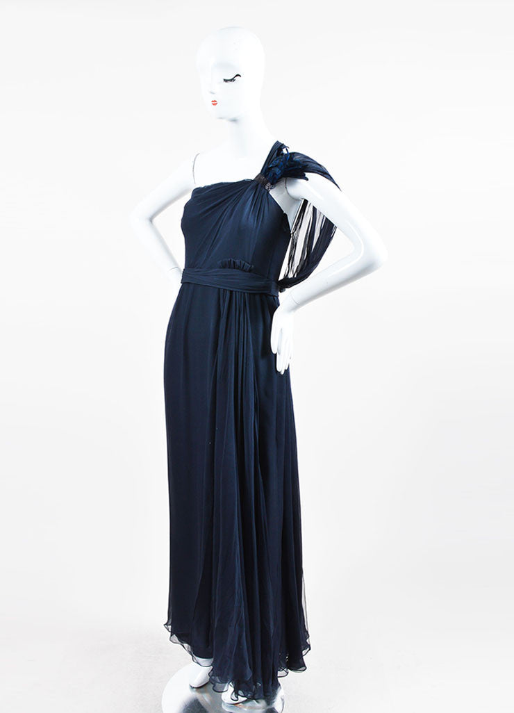 Navy J. Mendel Silk Feather Embellished Draped One Shoulder Gown Sideview