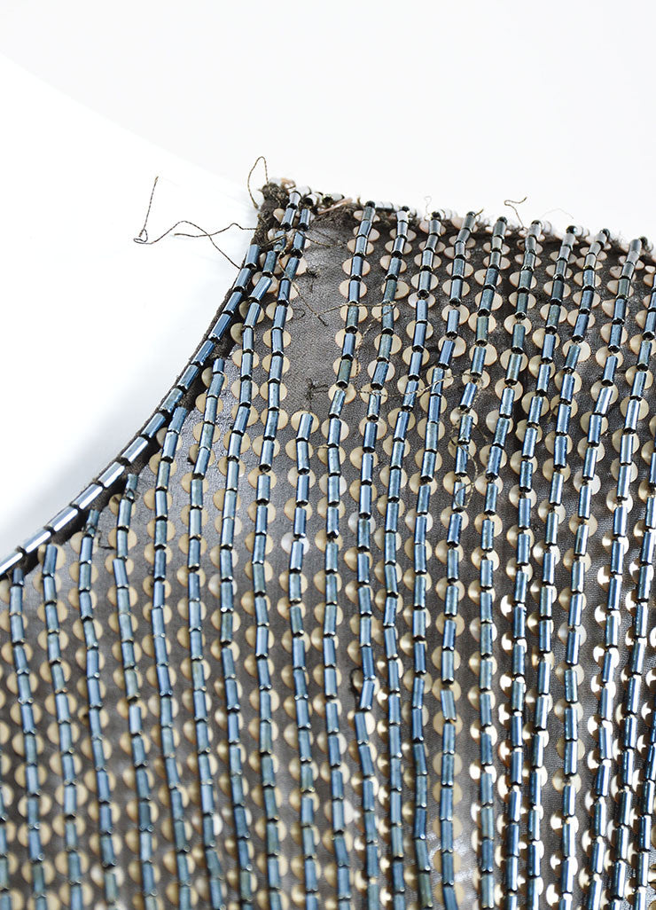 Dark Grey and Gold Jason Wu Silk Beaded Sequin Embellished Sleeveless Top Detail