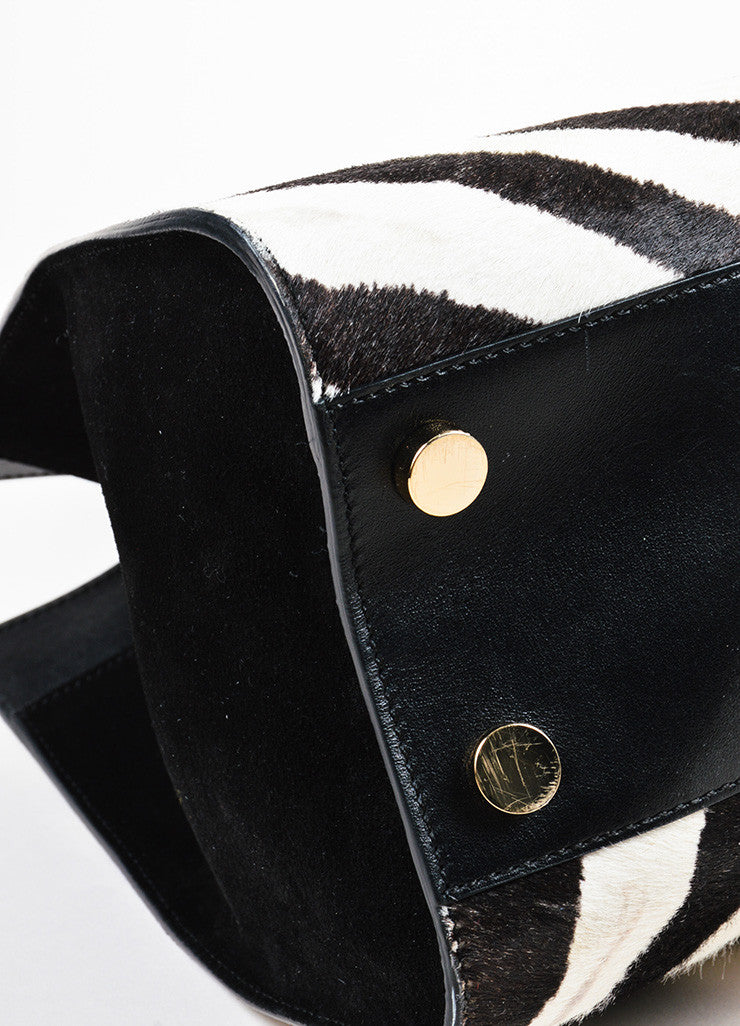 "Black and White Jimmy Choo Pony Hair Zebra Print ""Riley"" Tote Bag Detail 2"