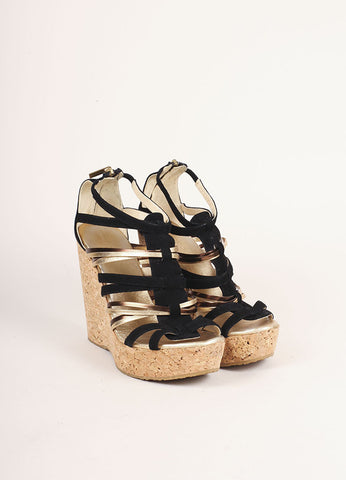 Jimmy Choo Black and Gold Suede Peekaboo Cork Wedges Frontview