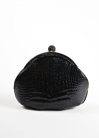 Judith Leiber Black Alligator Leather Chain Strap Clutch Bag Frontview